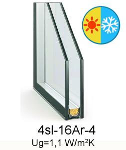 стеклопакет 4sl-16Ar-4