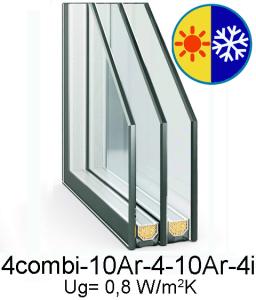 стеклопакет 4combi-10Ar-4-10Ar-4i